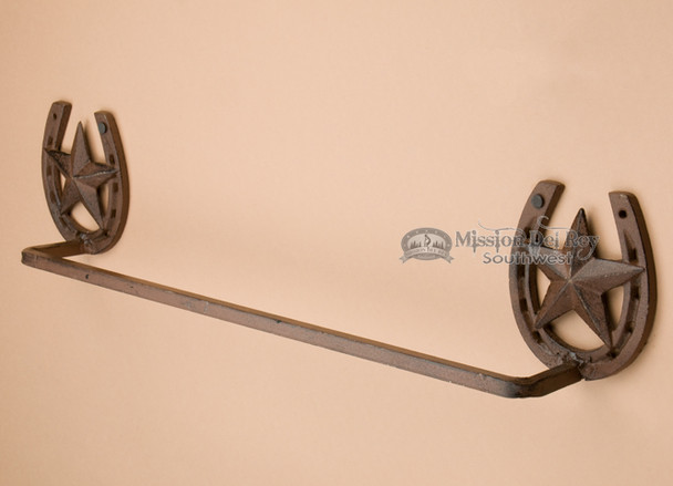 Western iron towel bar.