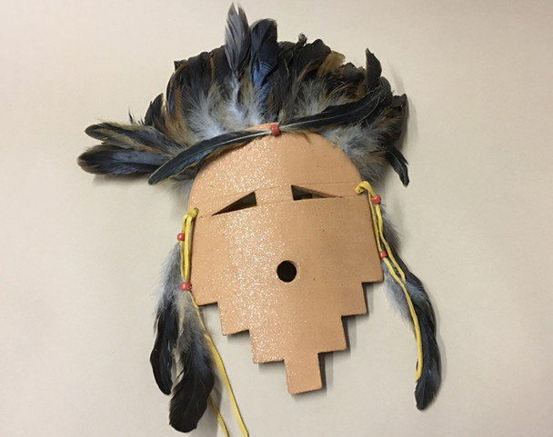 Native American Micaceous Clay Feathered Mask