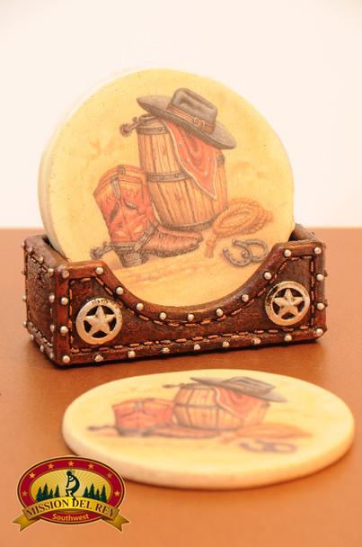 Western 4 piece set of coasters - Cowboy