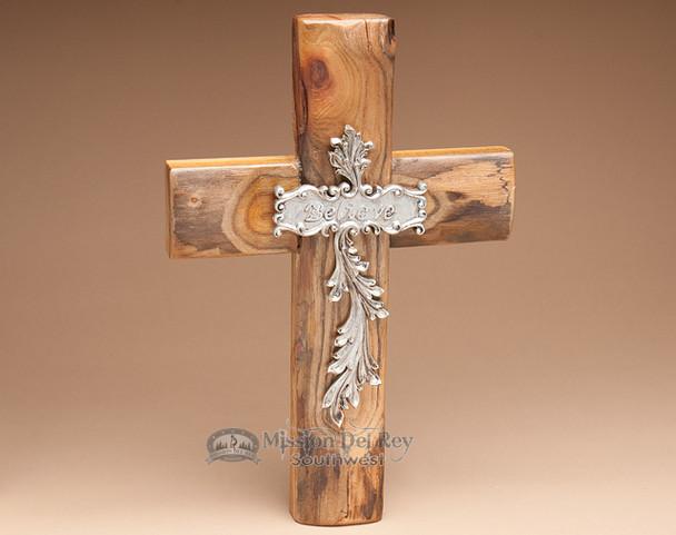 """Rustic Southwest Wooden Wall Cross 14"""" -Believe (c36)"""