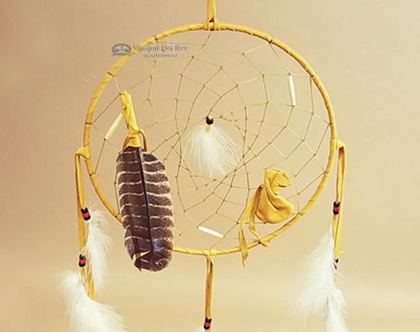 """12"""" Native American Dream Catcher -Gold Deer Skin"""