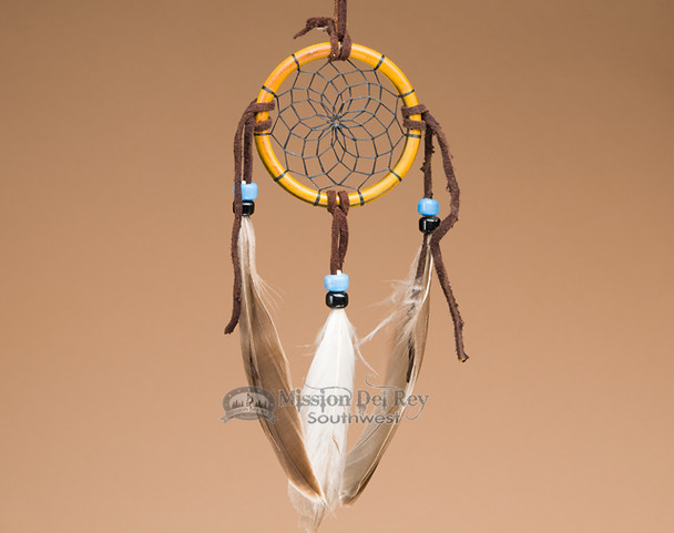 "Native American Bone Dreamcatcher - 2.5"" - Black Webbing"