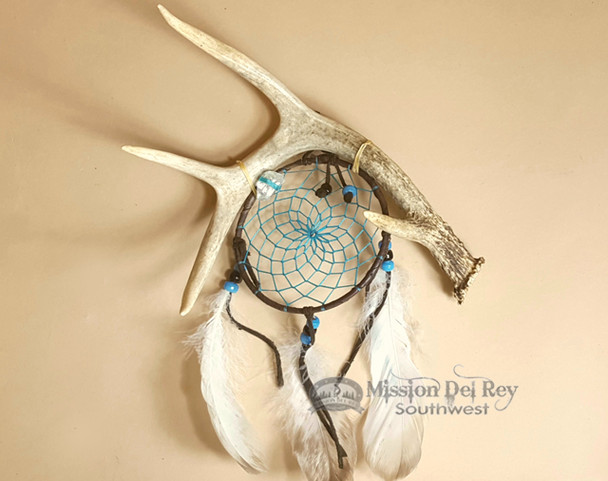 """American Indian Antler Dream Catcher 4"""" -Turquoise"""