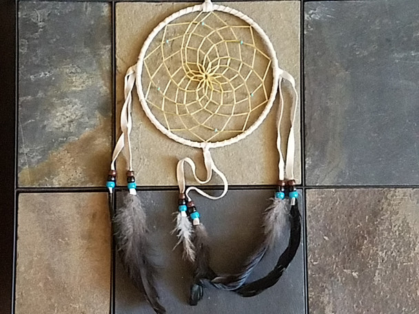 Native American White Dreamcatcher - 6""