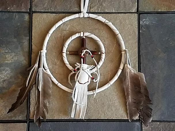 Native American Dream Catcher medicine wheel- White