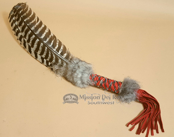 Braided beaded handle with fur and fringe turkey fan