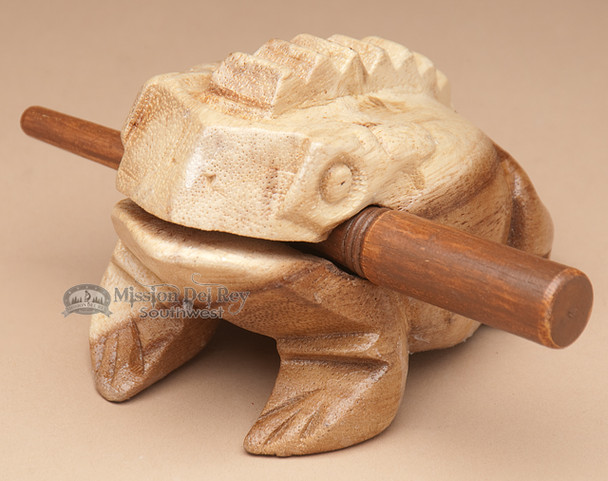 Carved Wooden Croaking Frog - Lg