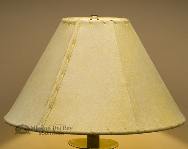 """Western Leather Lamp Shade - 14"""" Gold Pig Skin"""
