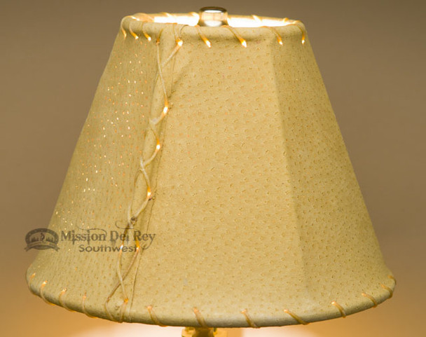 """Western Leather Lamp Shade - 8"""" Gold Pig Skin"""