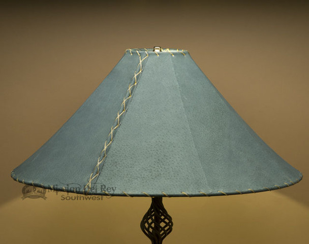 """Western Leather Lamp Shade - 24"""" Green Pig Skin"""