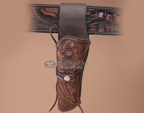 Western left handed tooled leather holster.