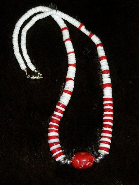 "American Indian Jewelry -22"" Coral Nugget Necklace"