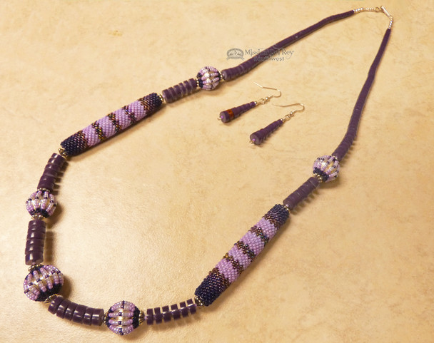 Native American Beaded Necklace and Earring Set