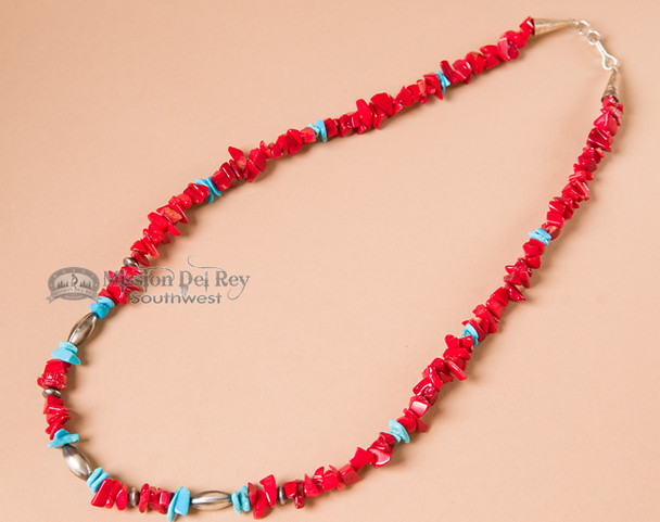 """Native American Necklace -20"""" Turquoise & Coral"""