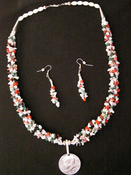 """Native American Navajo Jewelry -Necklace & Earring Set 23"""""""