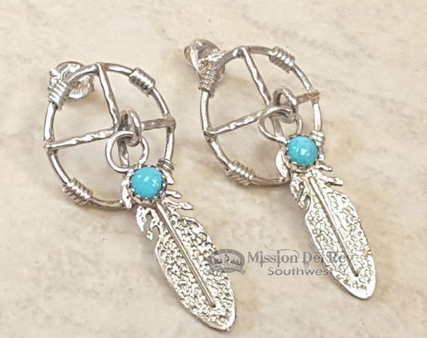 Sterling Silver American Indian Earrings -Navajo