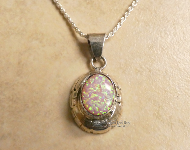 Native American Navajo Pink Opal Necklace
