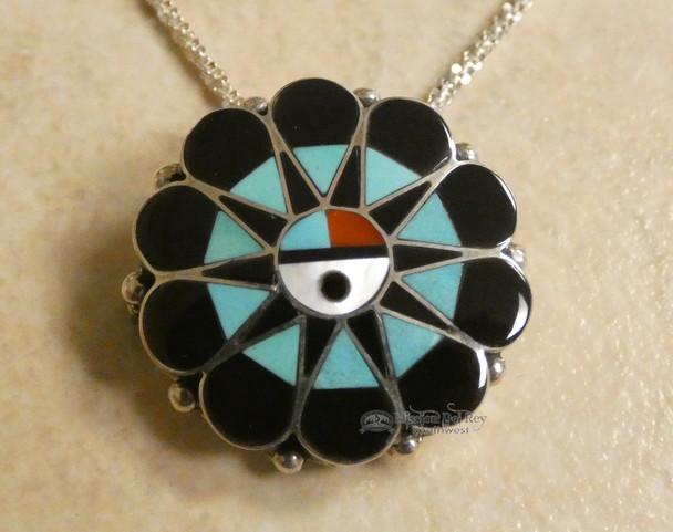 """Zuni Indian Silver Necklace 20"""" - Sun Face"""
