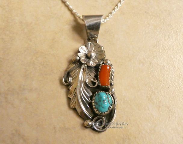 Native American Navajo Turquoise and Red Coral Necklace