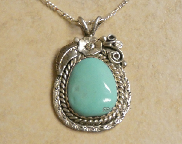 Navajo Silver Pendant Necklace -Turquoise