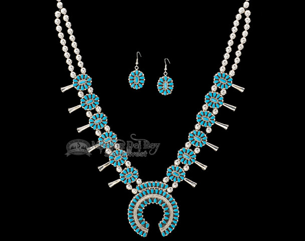 Navajo Double Silver Turquoise Necklace & Earrings 26""