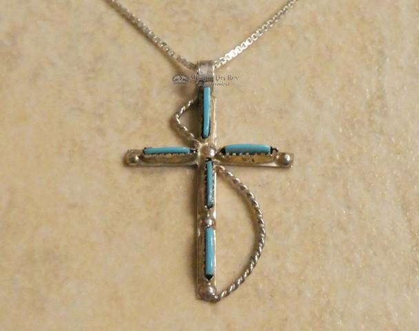 "Inlaid Silver Cross & Chain 20"" -Sleeping Beauty Turquoise"
