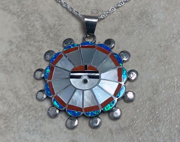 "Zuni Silver Inlaid Pendant Necklace 18"""
