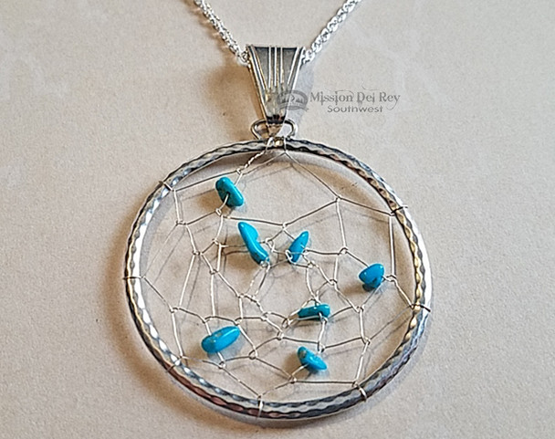 Native American Silver & Turquoise Dream Catcher Pendant Necklace