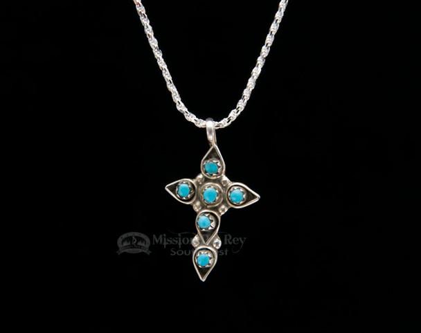"""Native American Silver Cross Necklace 20"""" -Navajo"""
