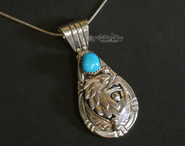 "Native American Silver Eagle Pendant Necklace 24"" -Navajo"