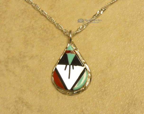 """Native American Silver Pendant Necklace 20"""" -Zuni"""