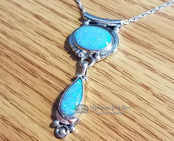 "Native American Opal Pendant & Silver Necklace 20"""