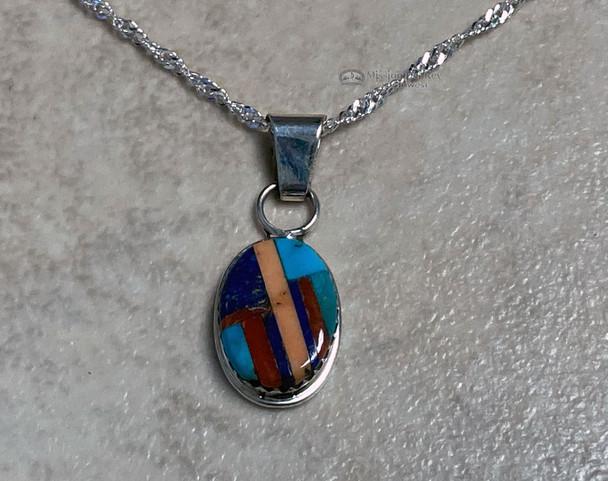 "Native American Sterling Silver Necklace 20"" Zuni"