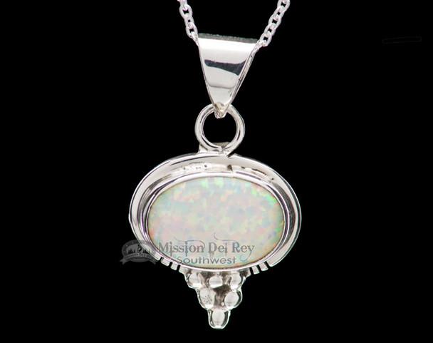 "Native American Silver Pendant Necklace 20"" -Opal"