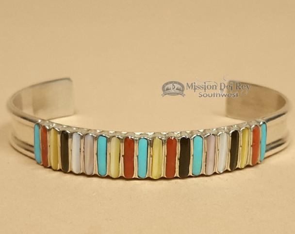 Native American Inlaid Silver Cuff Bracelet