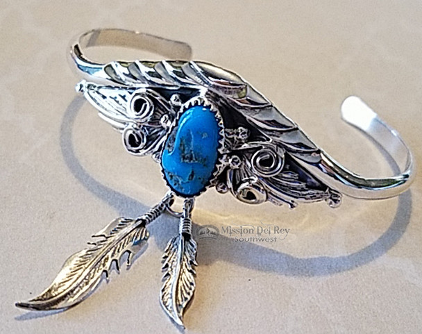 Native American Silver Cuff & Feathers