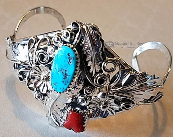 Native American Silver, Turquoise & Red Coral Cuff