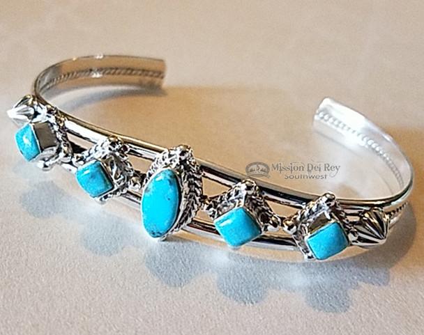 Native American Silver Cuff -Navajo Turquoise