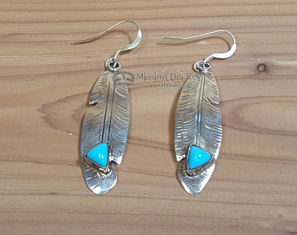 Navajo Silver & Turquoise Feather Earrings