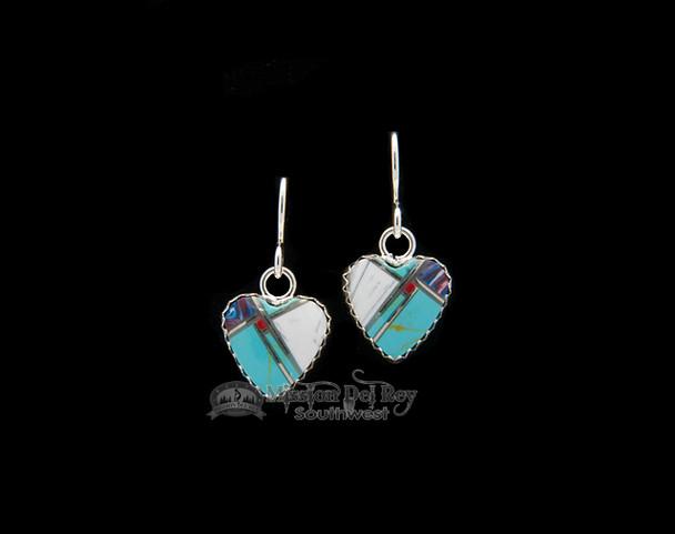 Native American Navajo Inlaid Silver Earrings