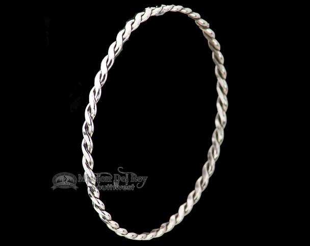 "Native American Silver Bangle Bracelet 8.5"" -Zuni"