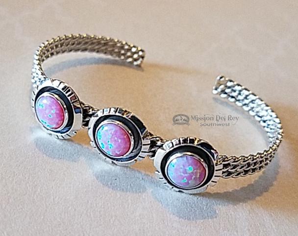 Native American Silver Cuff -Pink Opal