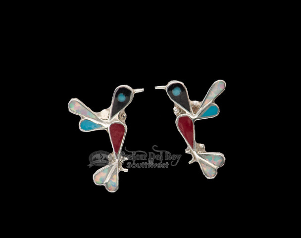 Native American Inlaid Silver Earrings -Humming Bird