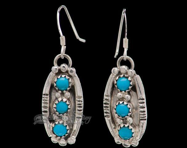 Navajo American Indian Silver Earrings