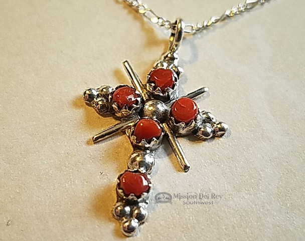 Zuni Native American Silver Cross Necklace 20""
