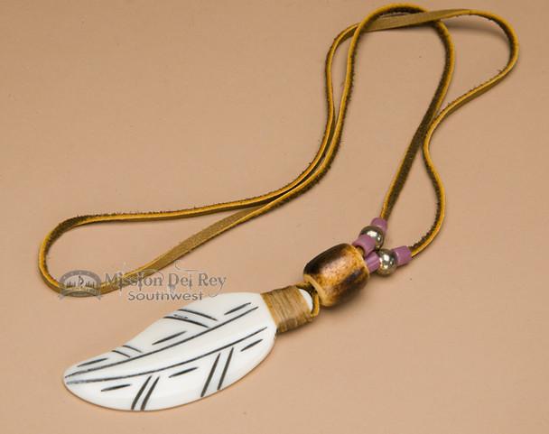 Native American Bone Feather Necklace -Purple