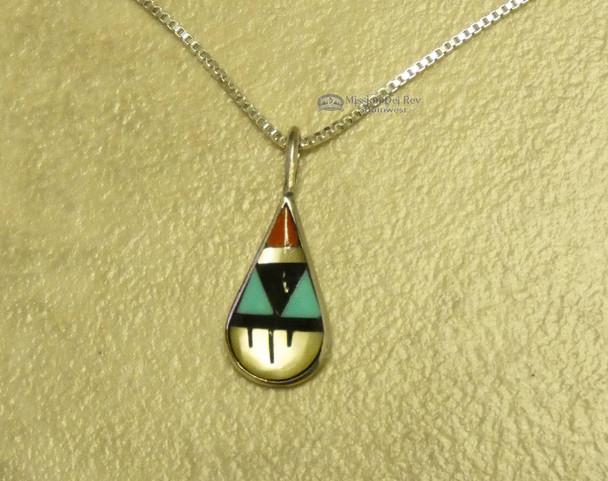 "Native American Silver Inlaid Pendant Necklace 20"" -Zuni"