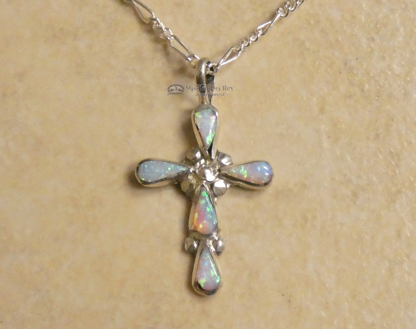 "Native American Silver Cross Necklace 20"""
