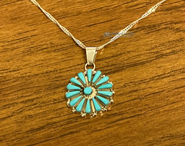 """Zuni Indian Silver Pendant Necklace 20"""" -Turquoise"""
