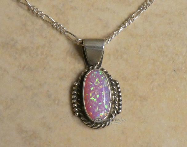 "Sterling Silver Pendant & Necklace 20"" -Navajo"